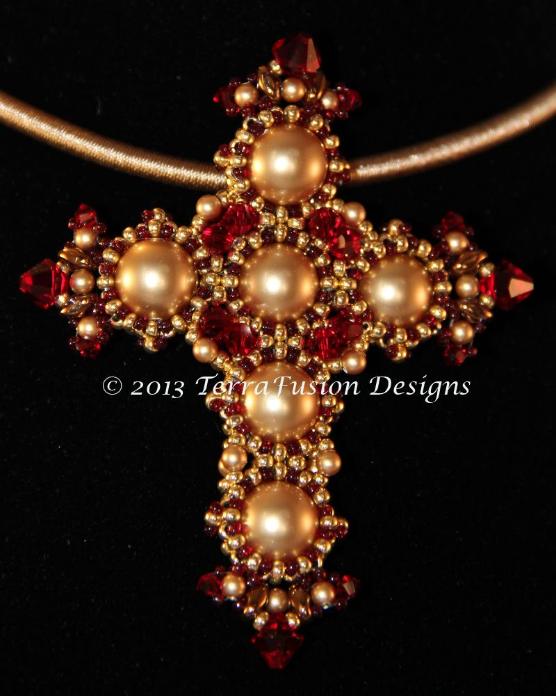TUTORIAL - Siam Red St. Joan of Lorraine Cross Pendant from The Crosses of Byzantium Collection. Designed by Alisa Neal & Gwen Lane. Visit our Etsy Shop: thebeadnikdivas