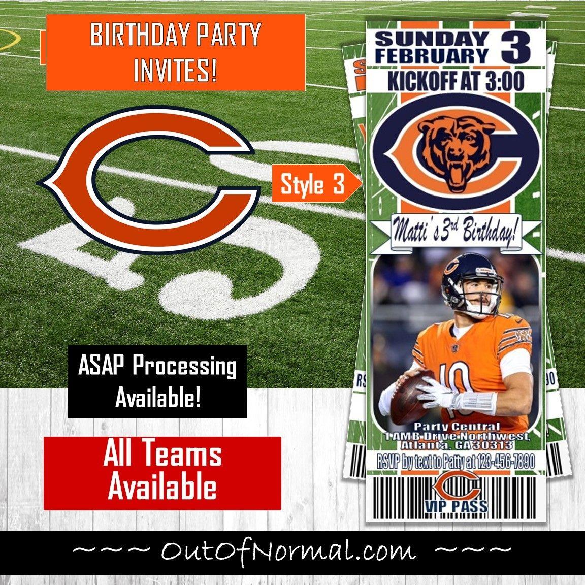 Chicago Bears Nfl Football Ticket Style Comic Invite Photo