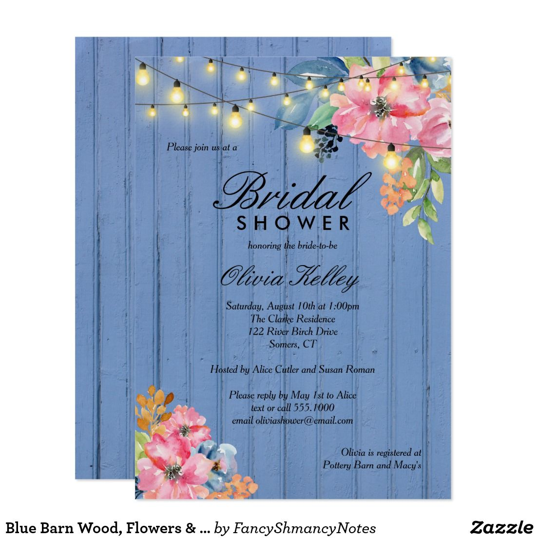 Blue Barn Wood Flowers Lights Bridal Shower Card This Trendy