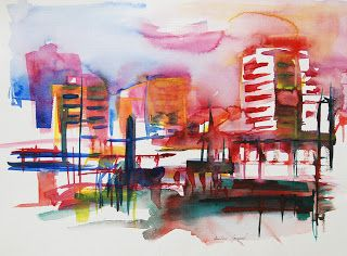Art Contemporain Art Moderne Ville Coloree En Aquarelle Art