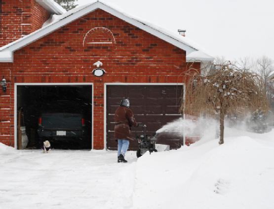 Snowblowing driveway
