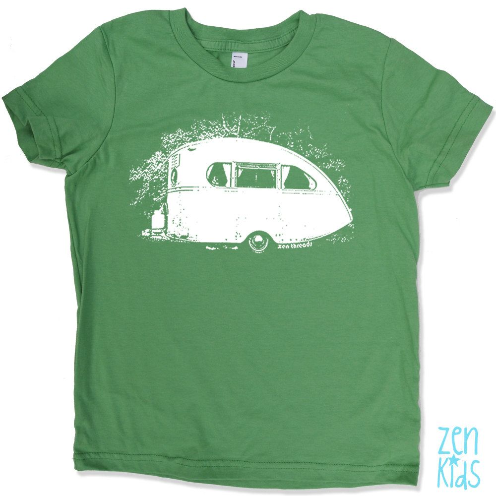 VINTAGE CAMPER Kids T Shirt in Grass Green- american apparel Tee Kids Sizes 4 6 8 & 10