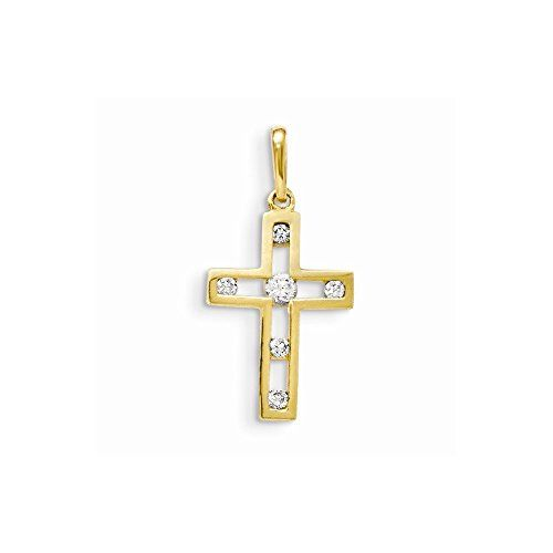 14K Yellow Gold CZ Childrens Cross Pendant
