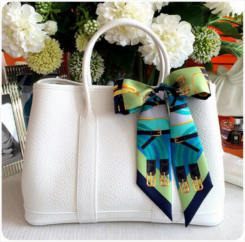 Hermes Garden Party 36cm In White Colour Matching Twilly