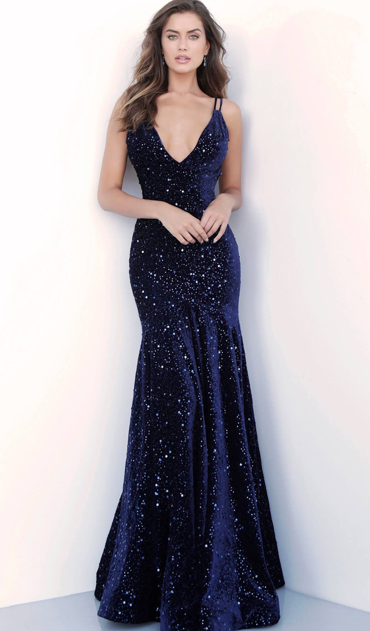 Chic / Beautiful Navy Blue Evening Dresses 2018 Trumpet