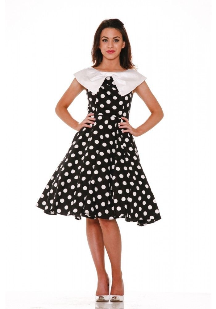 51b565993 H   R 9078 Black White Big Dot Vintage Color Swing Dress housewife  entertaining  HRLondonHeartsandRosesDress   partyvintagestylevtgpinuprockabillyretro   ...