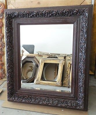 """Large Solid Wood """"38x44"""" Rectangle Beveled Framed Wall Mirror"""