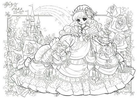 ぬりえ「姫・プリンセスローゼ」 | art inspiration | 塗り絵, ぬりえ