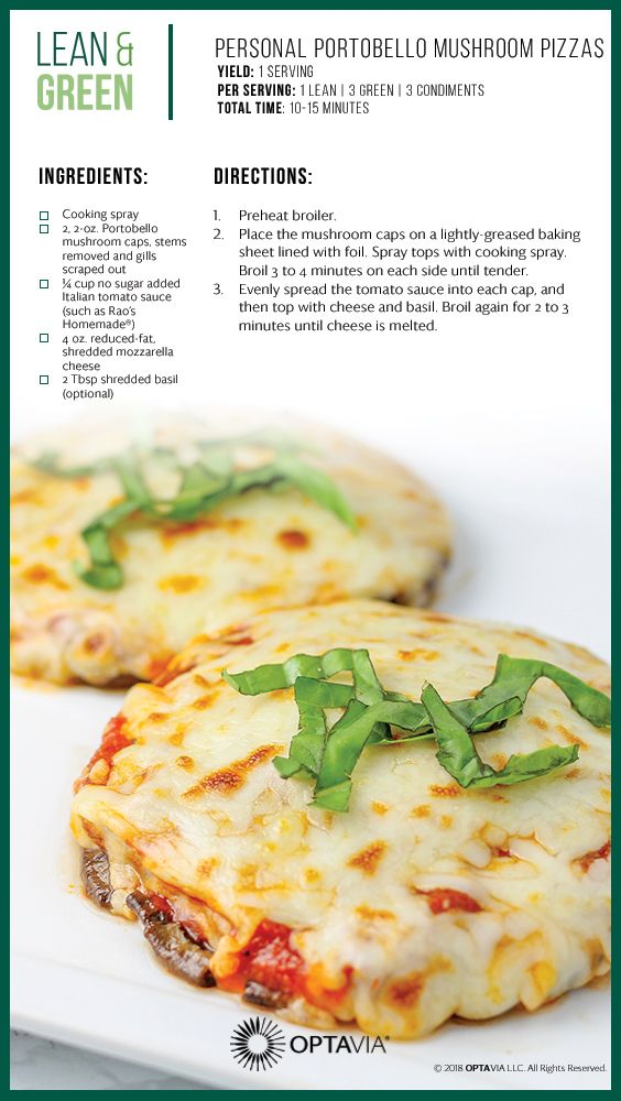 Personal Portobello Mushroom Pizzas Lean And Green Meals Greens Recipe Lean Meals