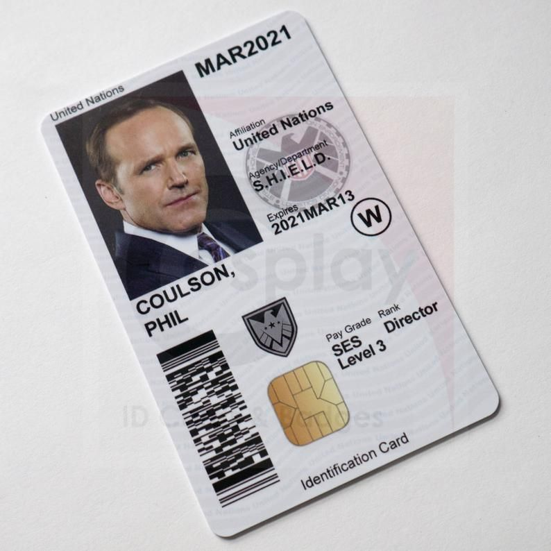 Marvel S Agents Of Shield Cac Id Badge Phil Coulson Etsy Marvels Agents Of Shield Black Widow Winter Soldier Phil Coulson