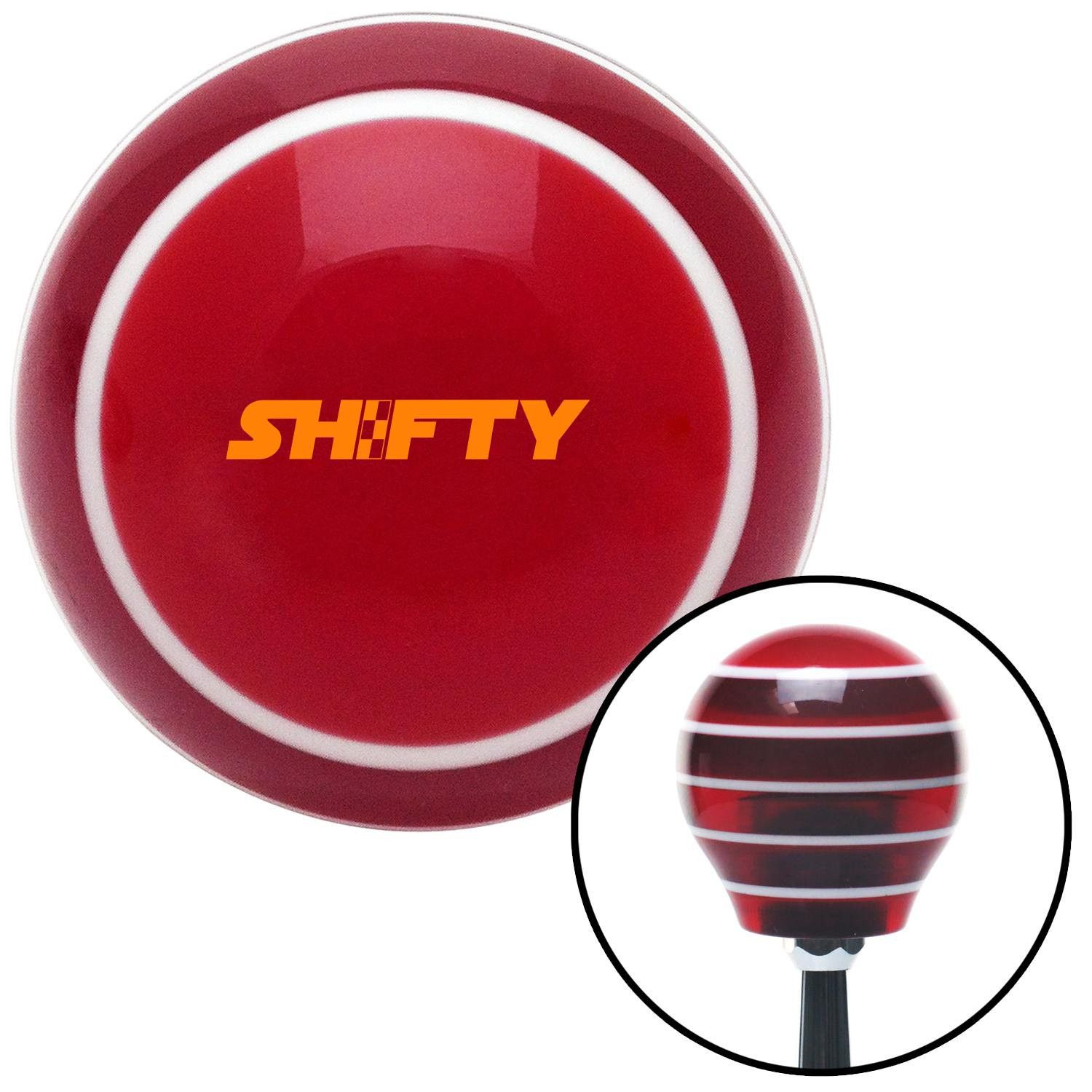 Orange Shifty Red Stripe Shift Knob with M16 x 15 Insert - Give your interior the ultimate look. American Shifter's Elite(TM) series shift knobs are made from the highest quality components resulting in a superior feel on every shift. Each shift knob is designed and customized in the USA by skilled shift knob artisans who have a trained eye on every detail. American Shifters shift knobs offers an exclusive aluminum threaded insert designed to be screwed onto your shift arm. You should avoid…