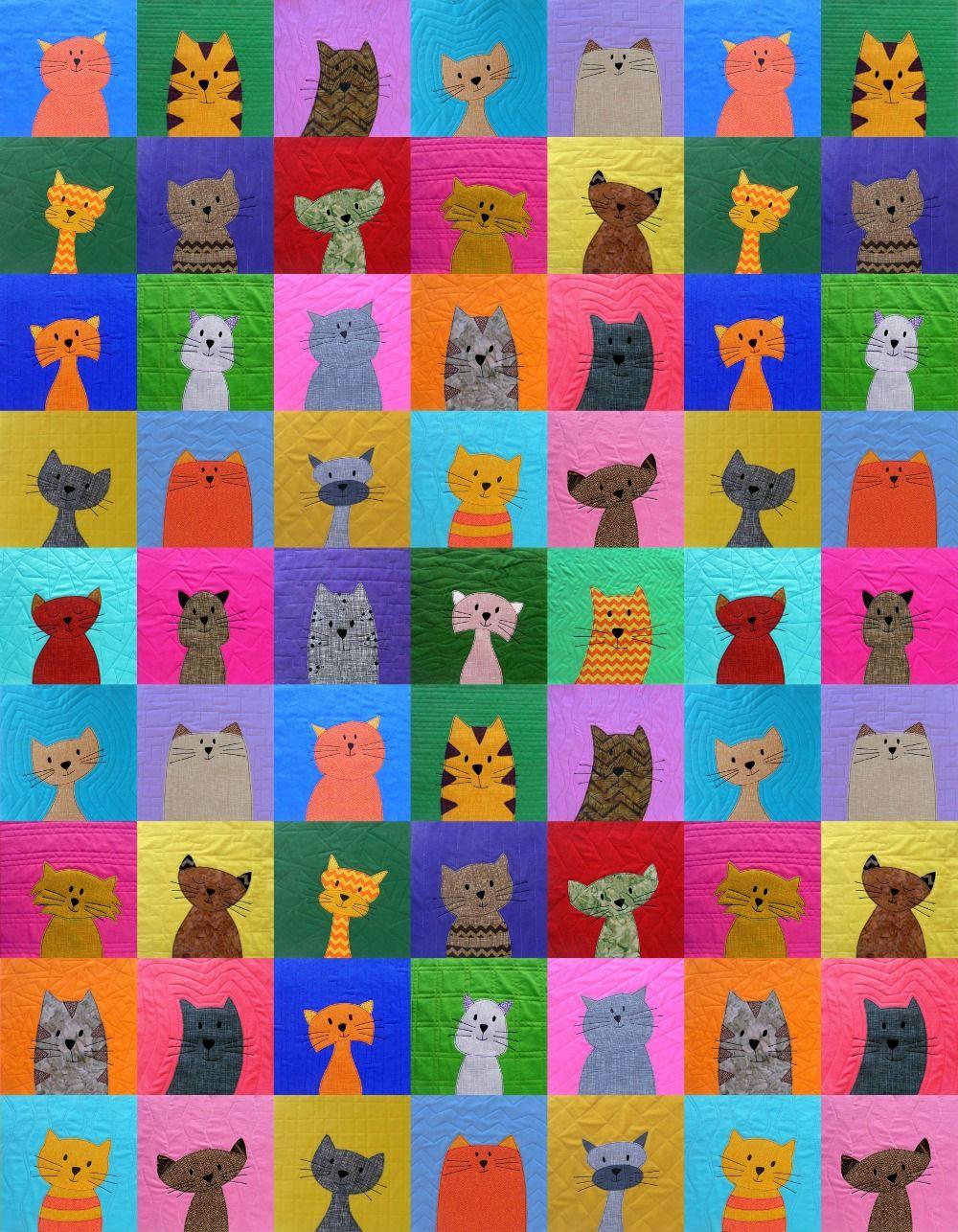 Cats Quilt Pattern Cat applique, Applique quilt patterns and Applique quilts