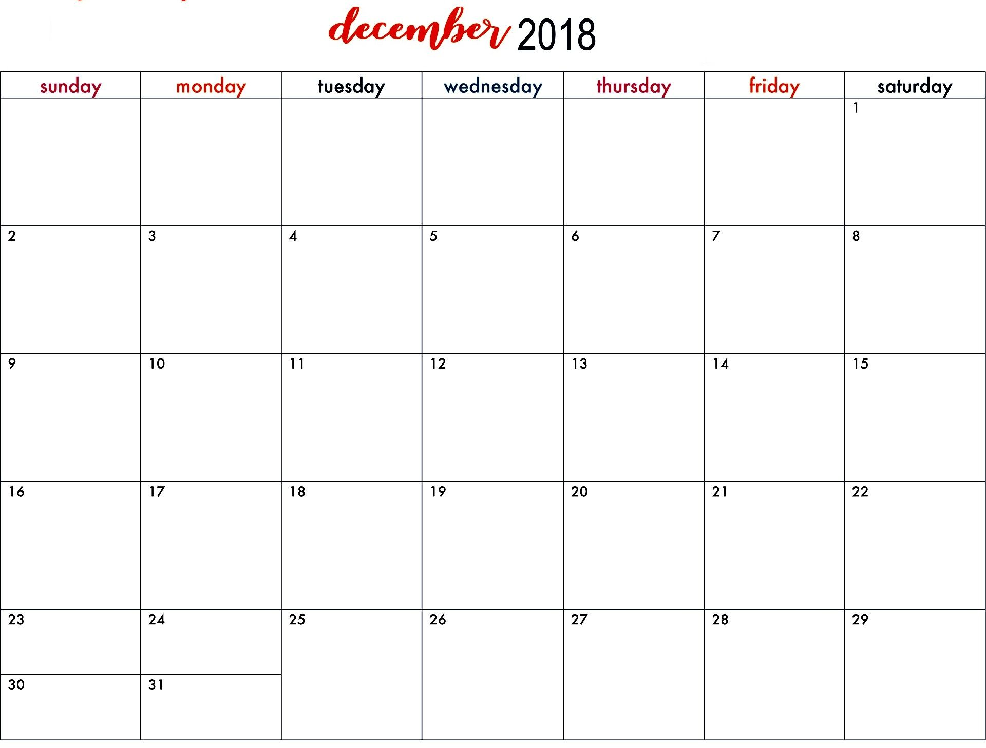 Print December 2018 Calendar With Holidays December 2018 Holidays