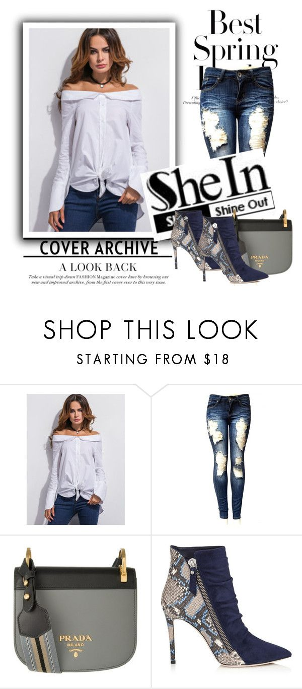 """""""Shein contest:White Off The Shoulder Super Long Sleeve Shirt"""" by elephant-extra ❤ liked on Polyvore featuring Prada, H&M and shein"""