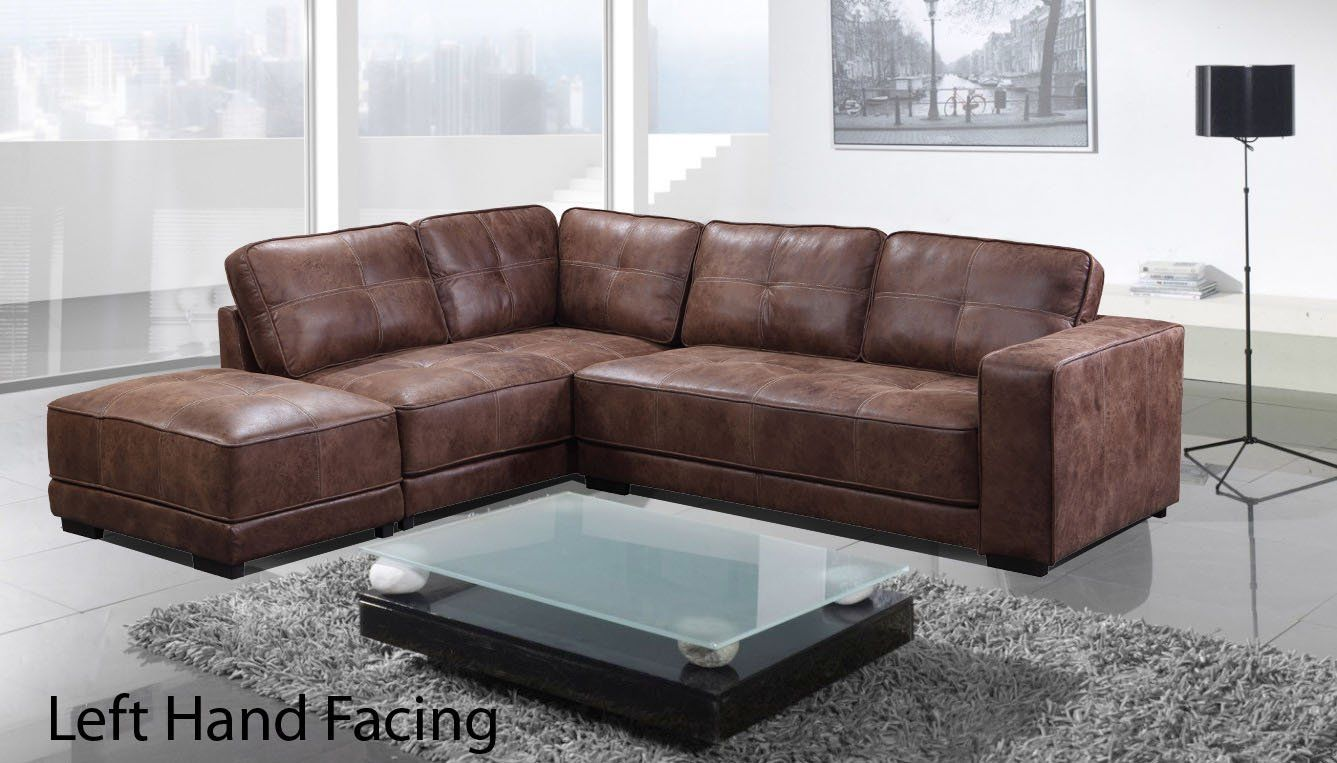 Brand New Carlton Leather Corner Sofa With Footstool Right Hand Facing Tan Amazon Co Uk Kitchen Home Leather Corner Sofa Corner Sofa Sofa