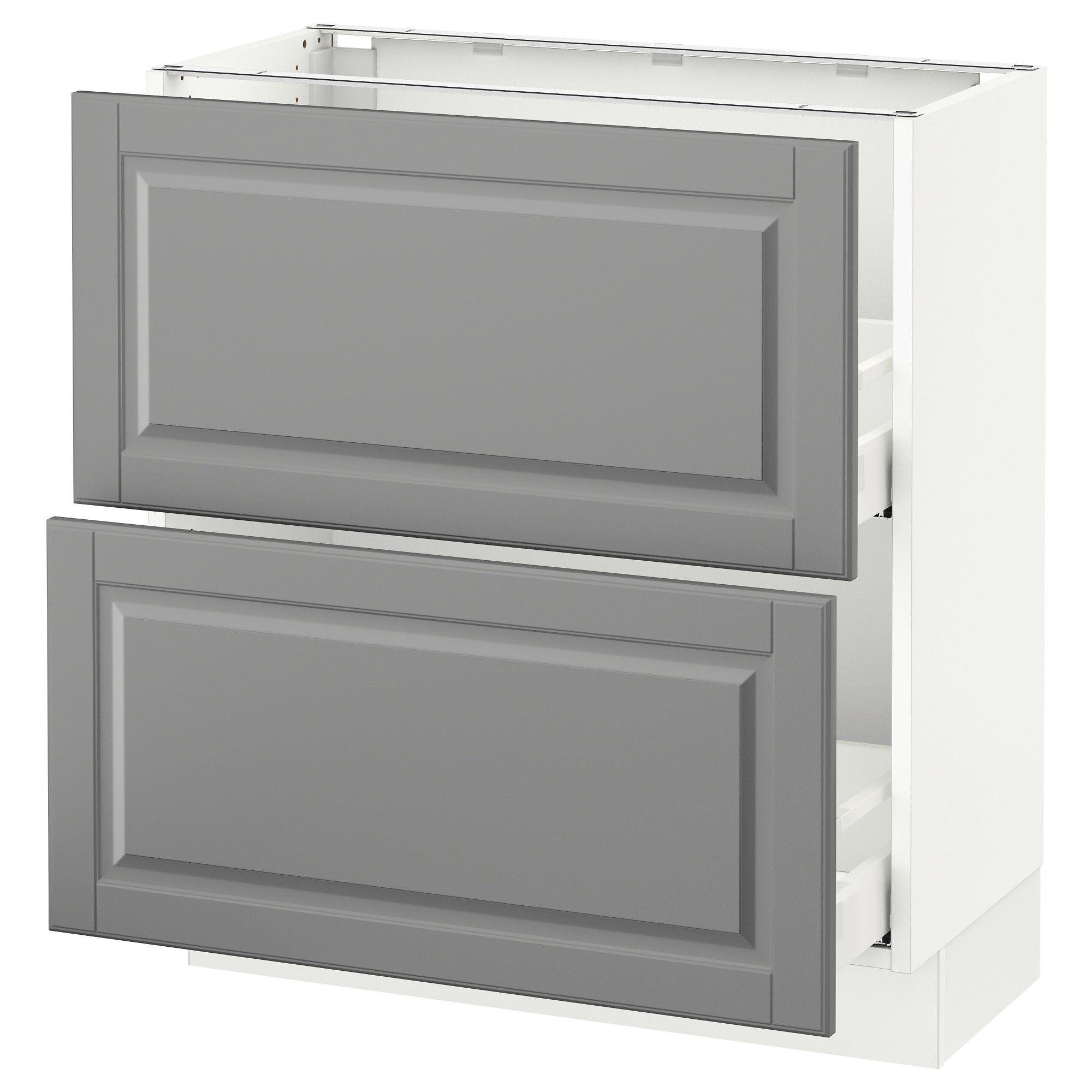 Sektion Base Cabinet With 2 Drawers White Maximera Bodbyn Gray