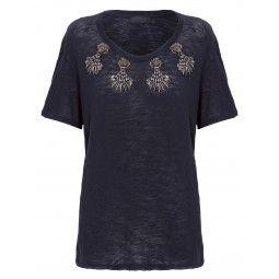 Talie Nk $490,00 Camiseta Flame Bordada Berry Tlf