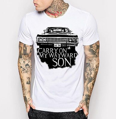 Goedkope Supernatural T shirt Dean Sam Winchester Shevy Impala Wit T shirt Ml XL…