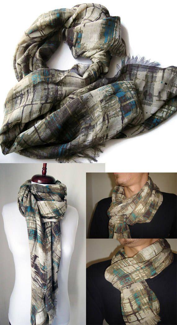 Linen scarf, linen shawl, Men gifts, camo scarf, boyfriend gift