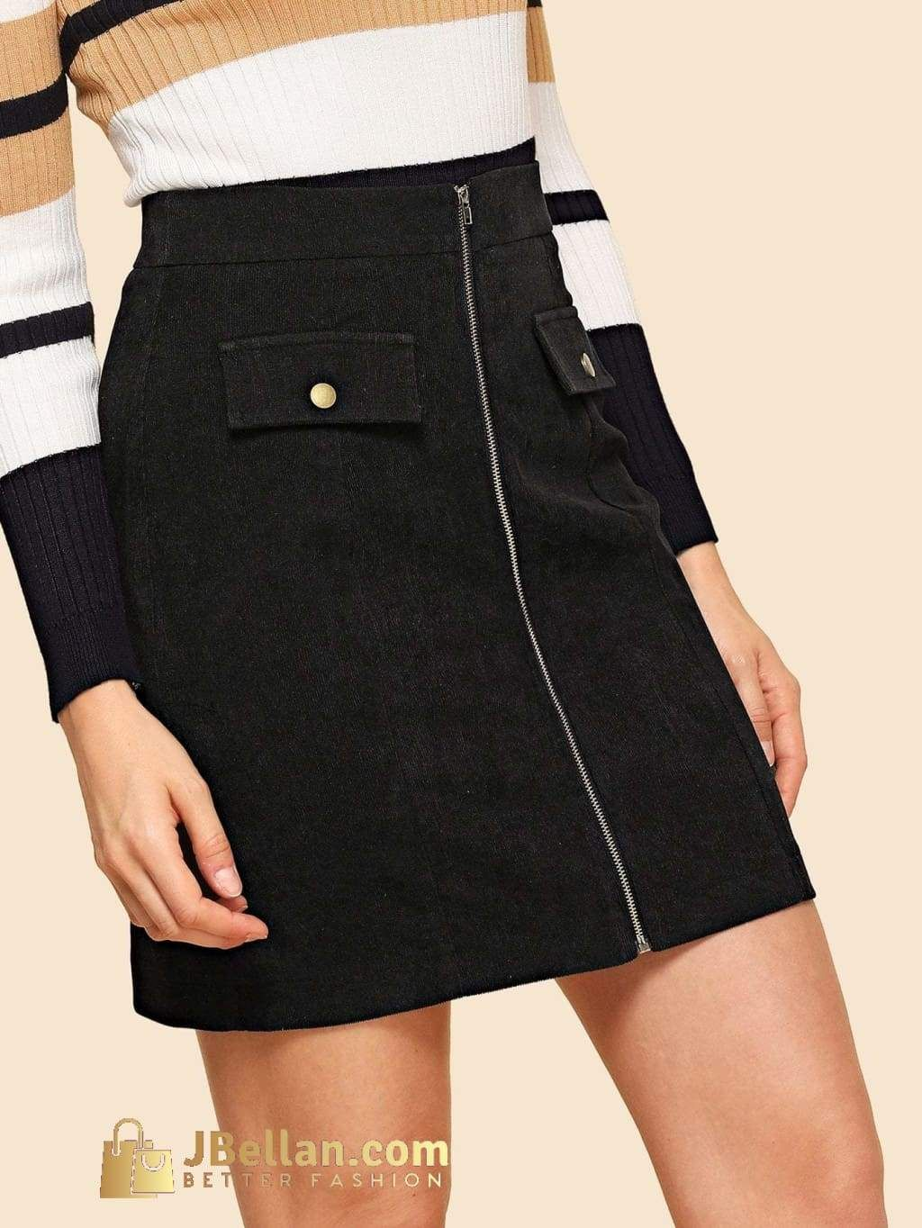 f15303f36 80s Wide Waistband Zipper Up Skirt