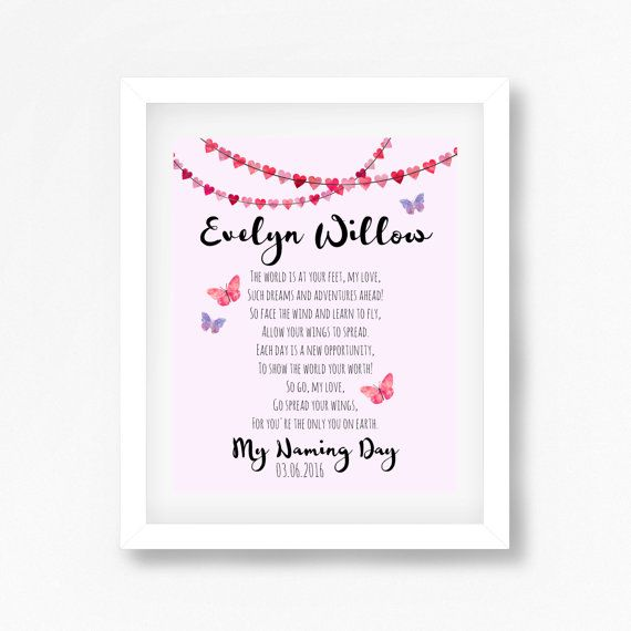 Naming Ceremony Gift, Naming Day Gift, Namind Day Poem, Baptism - naming ceremony invitation