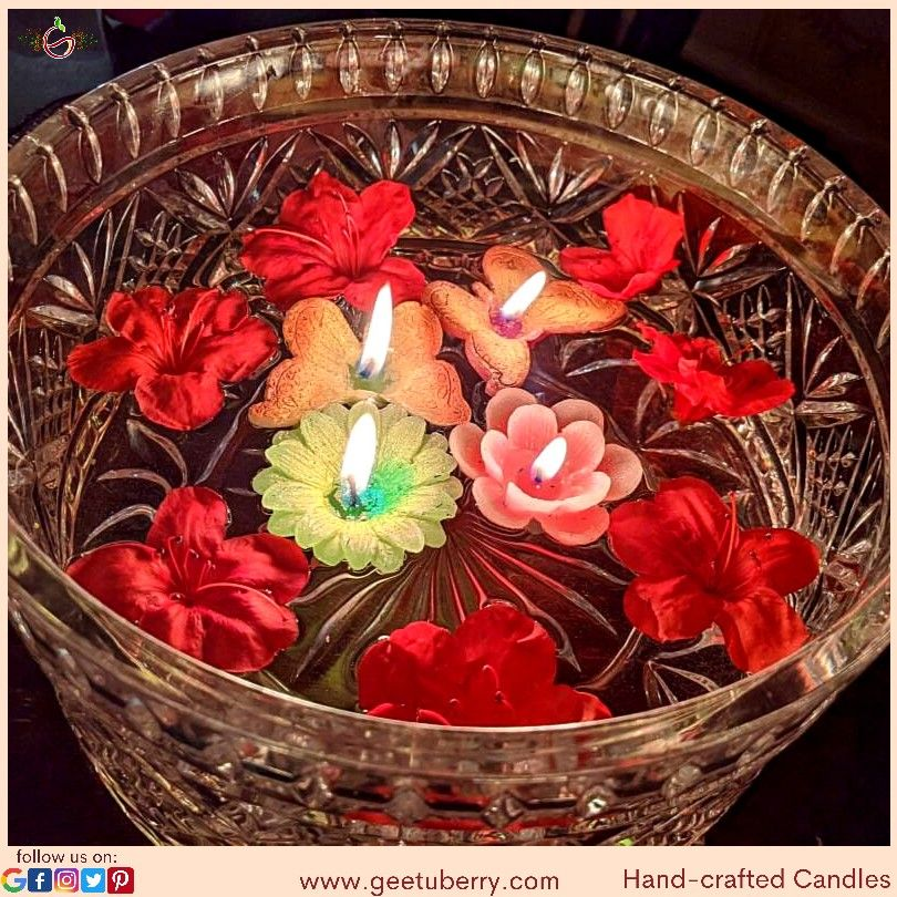 Candles are more than just lightning up your home. It's a sign of happiness, joy, love and positiveness. Bring one of these beautiful handcrafted candles in your home at affordable prices only from GeetuBerry. Get in touch with us on 917-853-1134 or visit our website www.geetuberrry.com to buy our products! #instadaily #surfacepatterndesign #patterndesign #kitchendecor #livingroomdecoraction #mydesiswag #instahome #instadesign #instahomes #homedecorindia #homedecoration #handmade #art