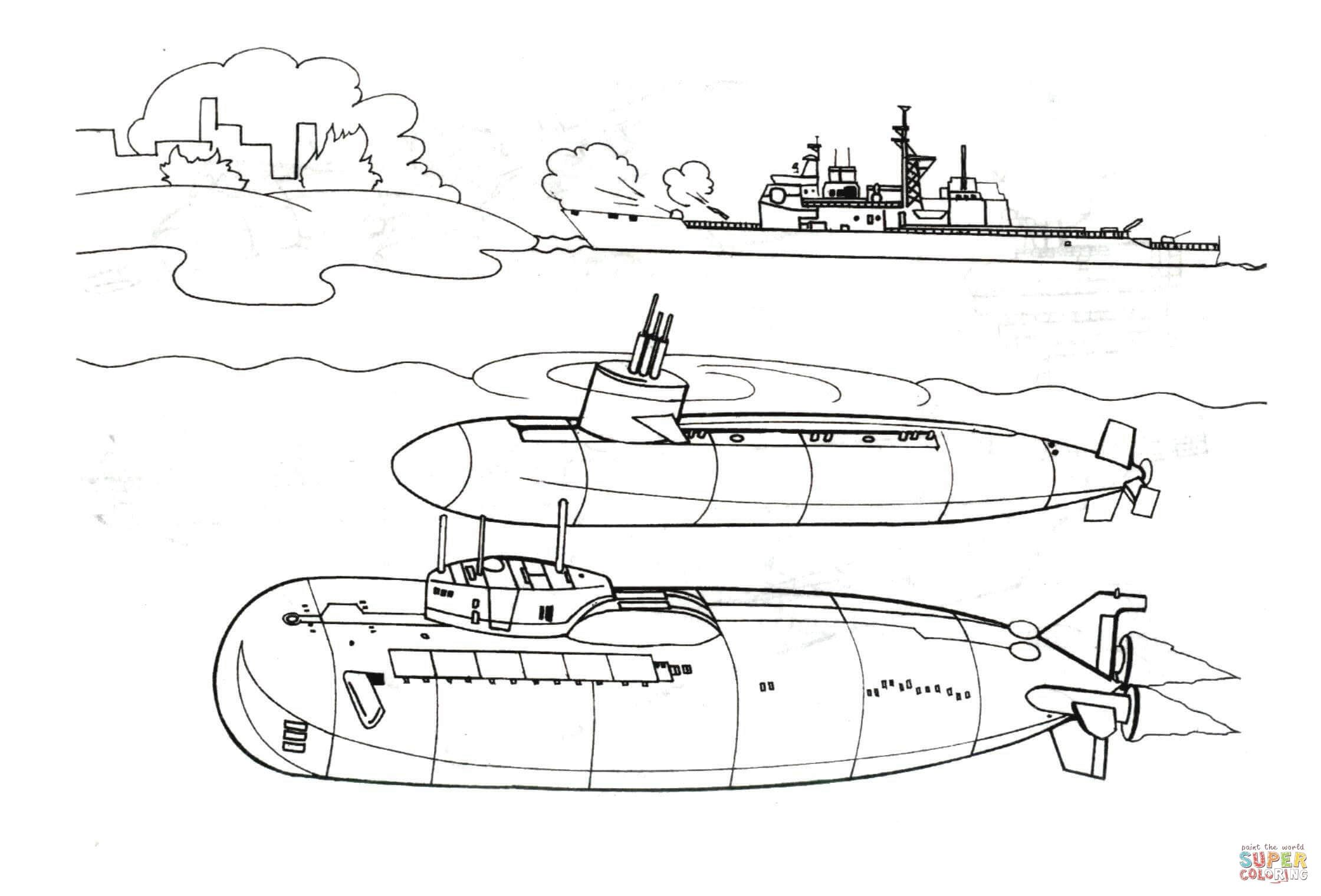 Dos Grandes Submarinos Super Coloring Submarino Dibujo Paginas Para Colorear Submarino