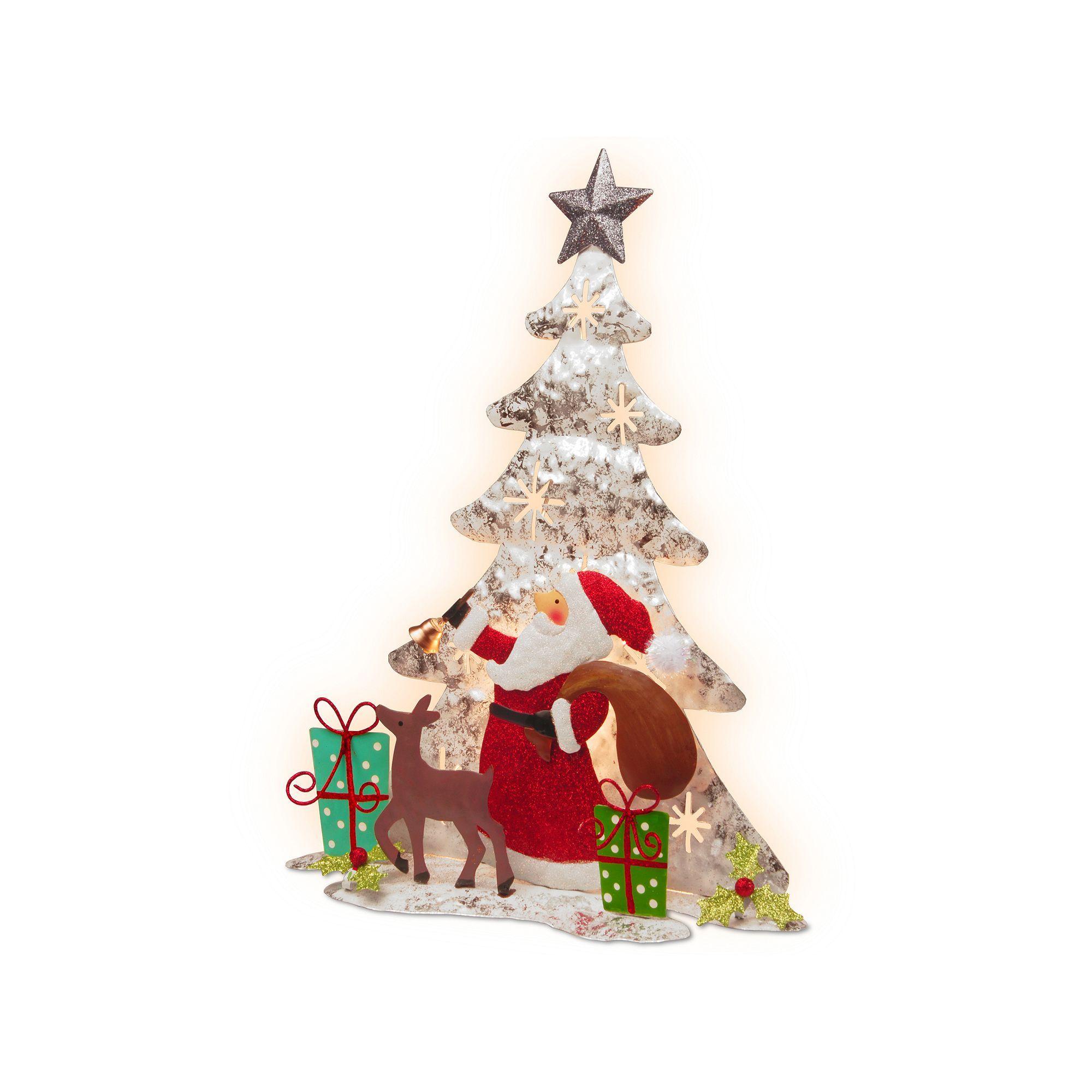 National Tree Company PreLit Santa & Reindeer Christmas