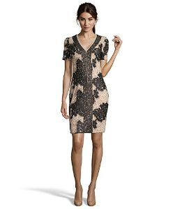 Haydenblack and nude sequined lace cocktail dress