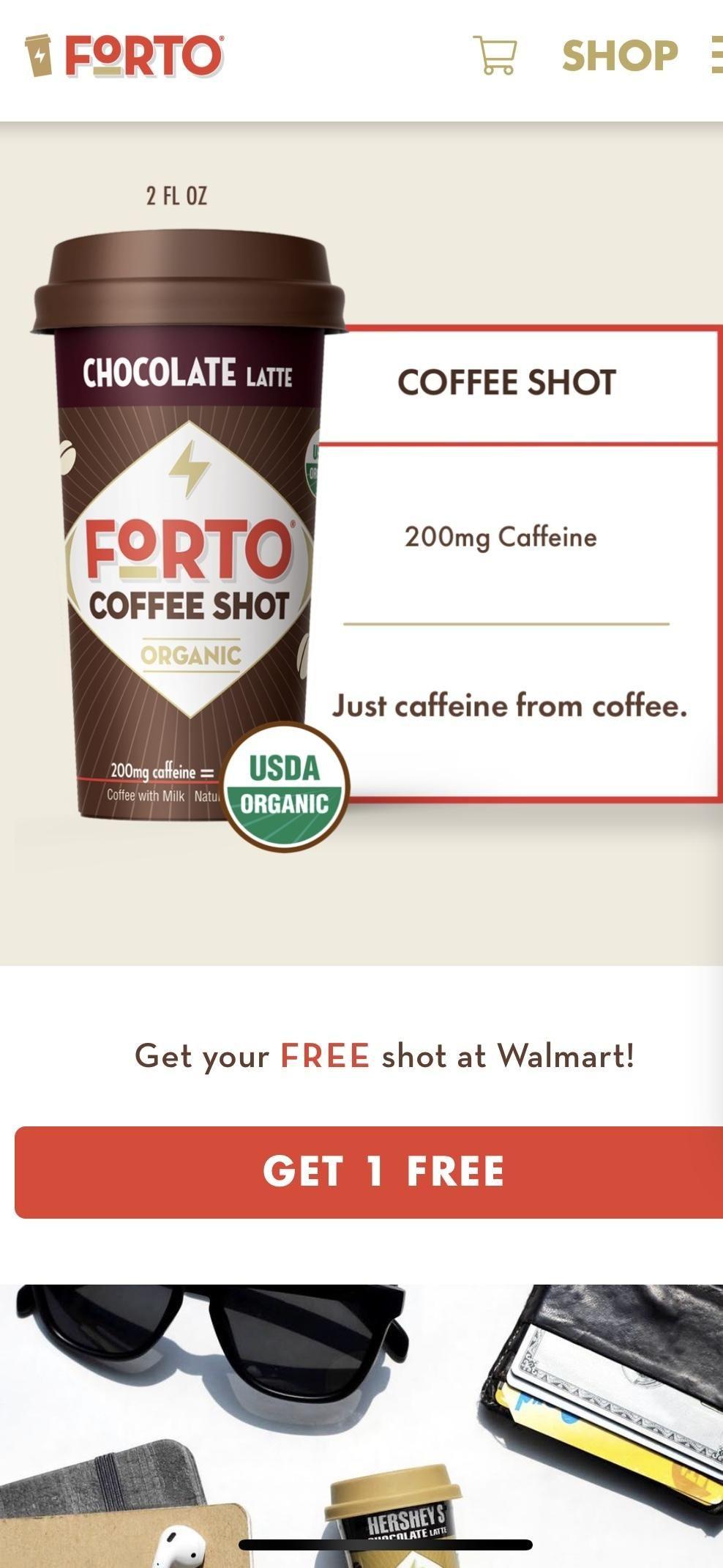 Free FORTO Coffee shot at Walmart via iBotta app