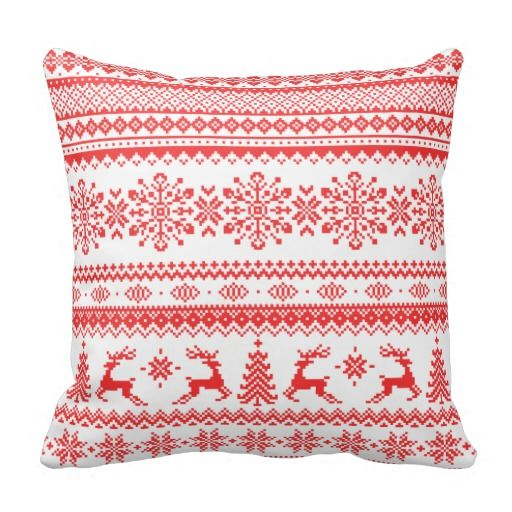 Christmas sweater red fair isle pattern monogram throw pillow ...