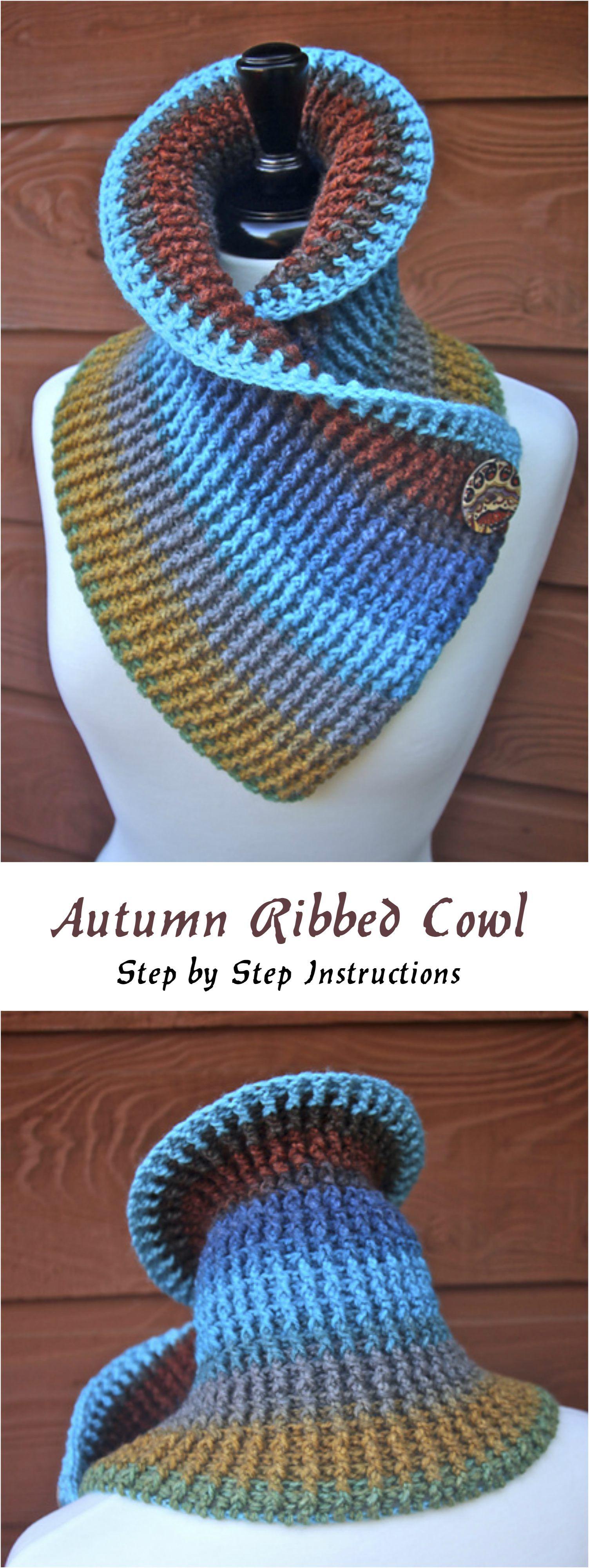 Crochet Autumn Ribbed Cowl   Manualidades inteligentes   Pinterest ...