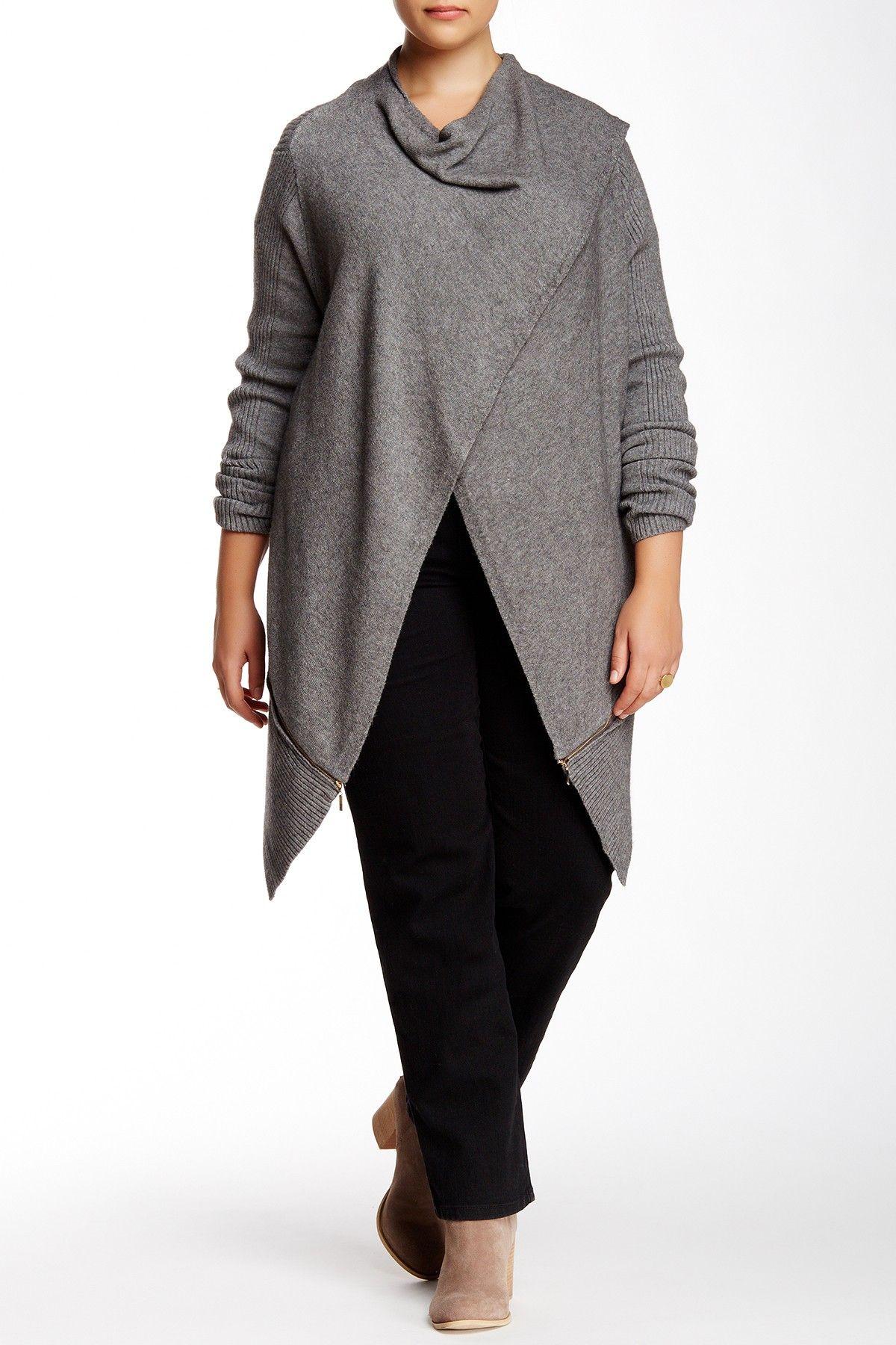 Zip Trim Wrap Cardigan (Plus Size) by Love Token on @nordstrom_rack
