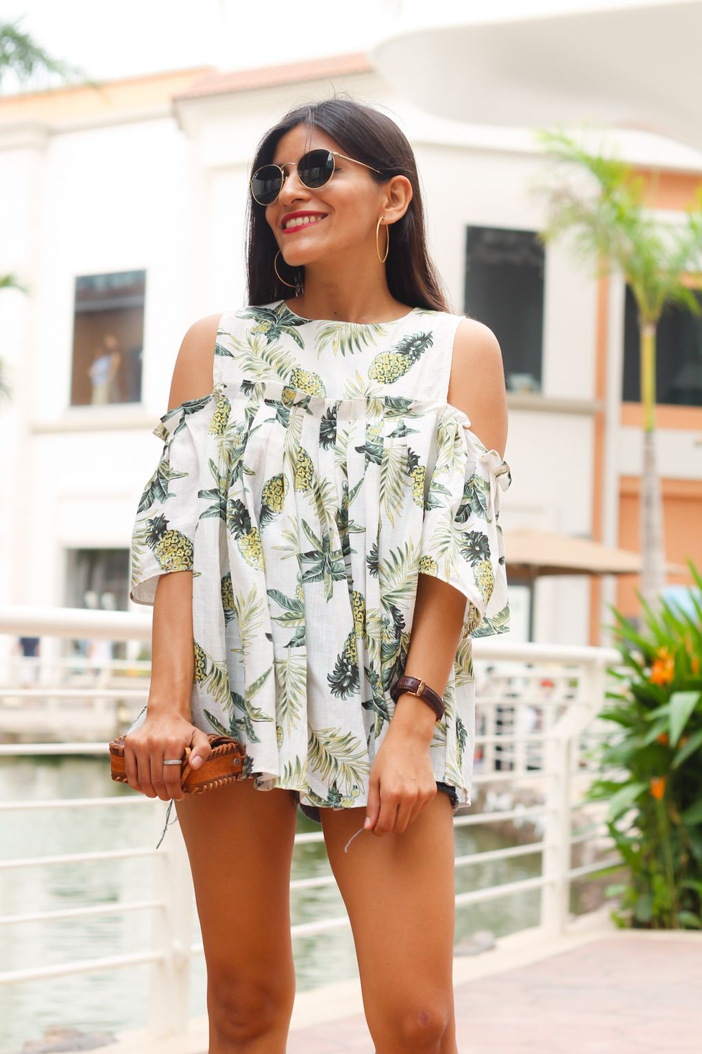 Cute pineapple top with denim shorts for the perfect summer look!