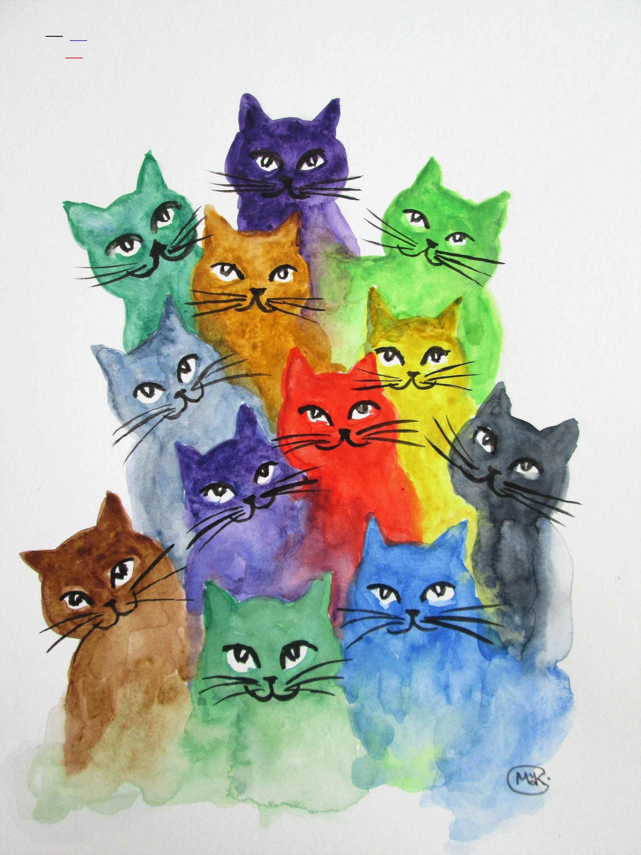 Original Kitten And Cat Art By Marjansart Cat A Lot Of Colorful Cats Cat Painting Rainbow Cat Cat Lover Gift Home De In 2020 Katzen Kunst Katzen Malereien Katzen