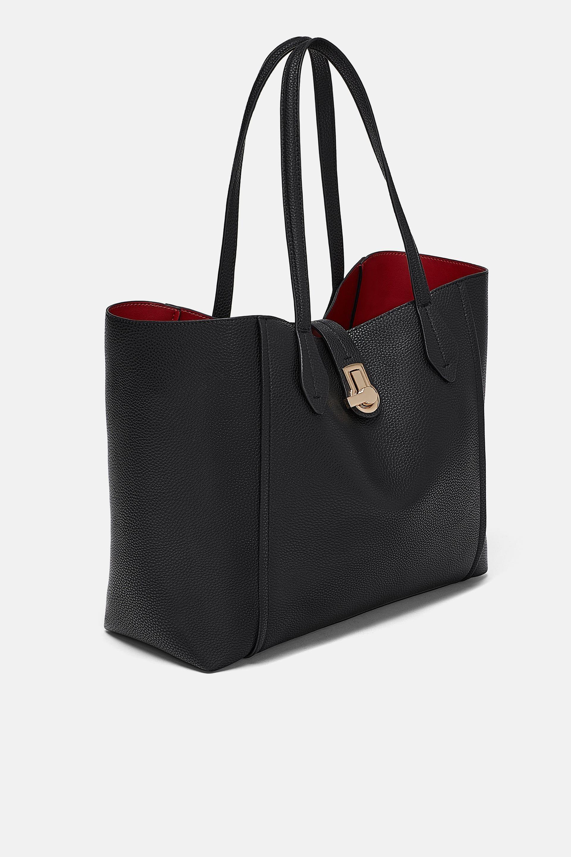 e348df4084 ZARA - WOMAN - TOTE BAG WITH METAL CLASP Womens Tote Bags