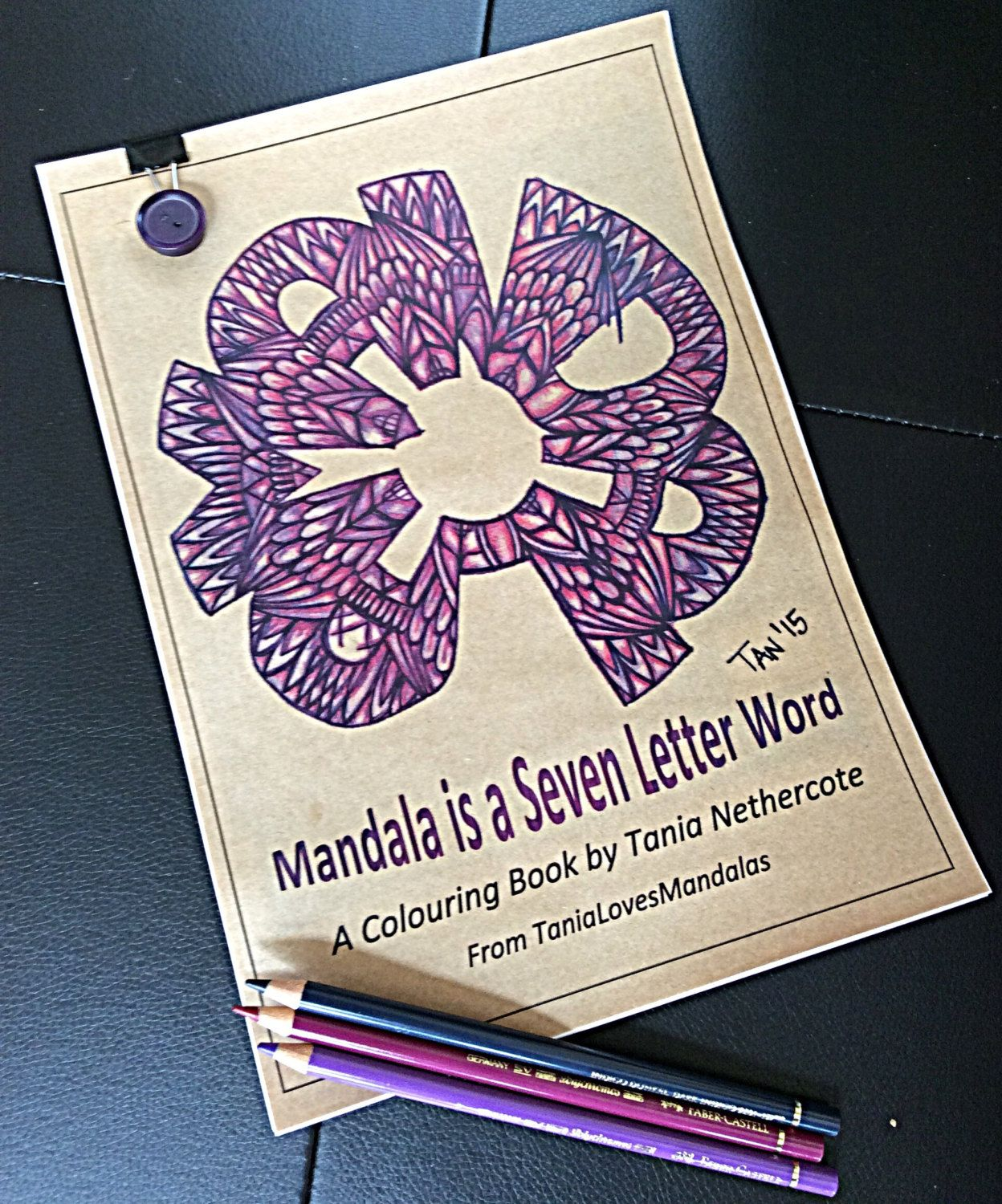 Mandala Colouring Book Is A Seven Letter Word 12 Pages Quality Cartridge Paper Vintage Button Clip By TaniaLovesMandalas On Etsy