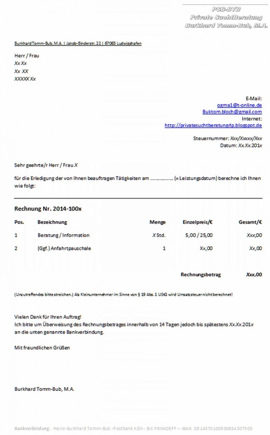 Rechnungsvorlage Musterrechnung Kostenlos Lexoffice 8