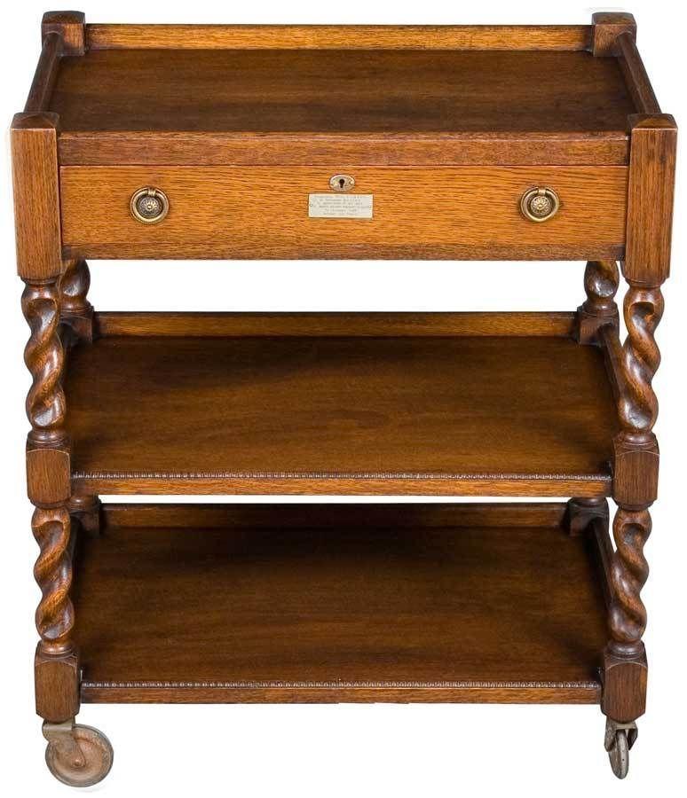 Oak Rolling Cart ~ Antique english oak barley twist tea trolley cart w drawer