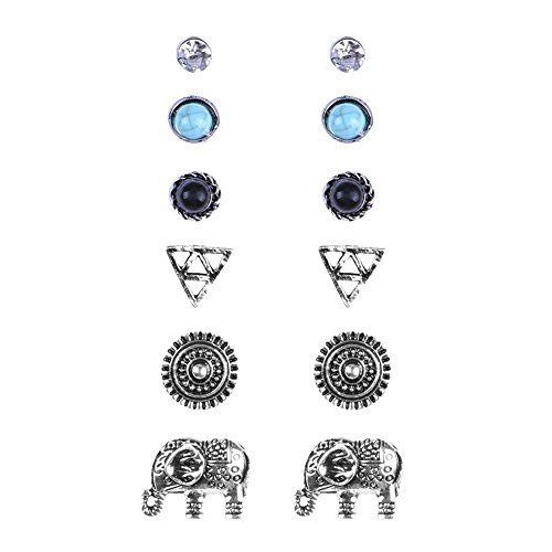 Zealmer Women's Girl's Assorted Multiple Elephant Stud Earring 6 Pa...