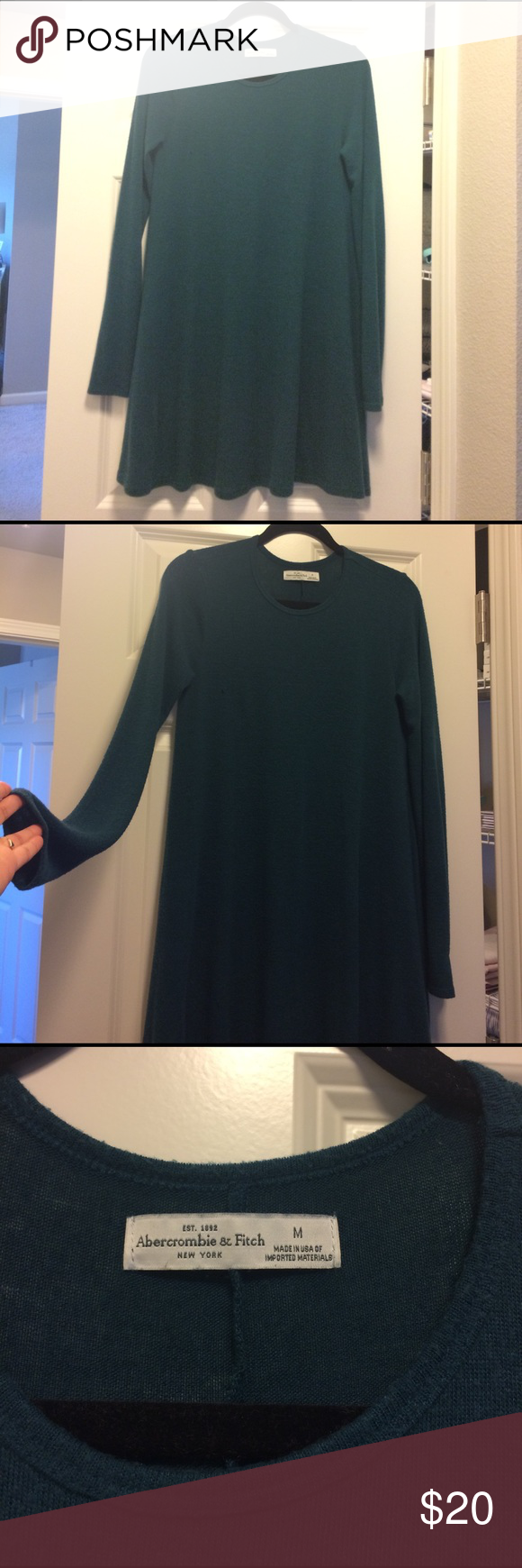 Abercrombie dress Emerald green flowy dress, long sleeved, very soft thin fabric. Dress is a size medium and fits true to size, I'm usually a size small but sized up on this so it is a loose fit as seen in pictures. The dress does have two small snags on the front which blend in with the texture of the fabric. The fabric is thin so when I've worn this dress I use a slip or spanx underneath. Abercrombie & Fitch Dresses Long Sleeve