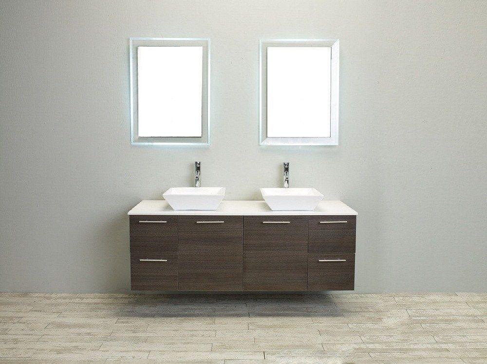 Eviva Luxury 60-inch Grey Oak bathroom cabinet only