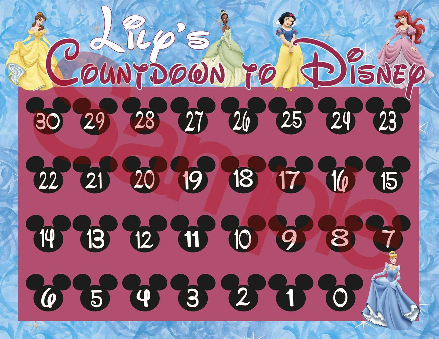 graphic about Disney Countdown Calendar Printable known as countdown calendar template -