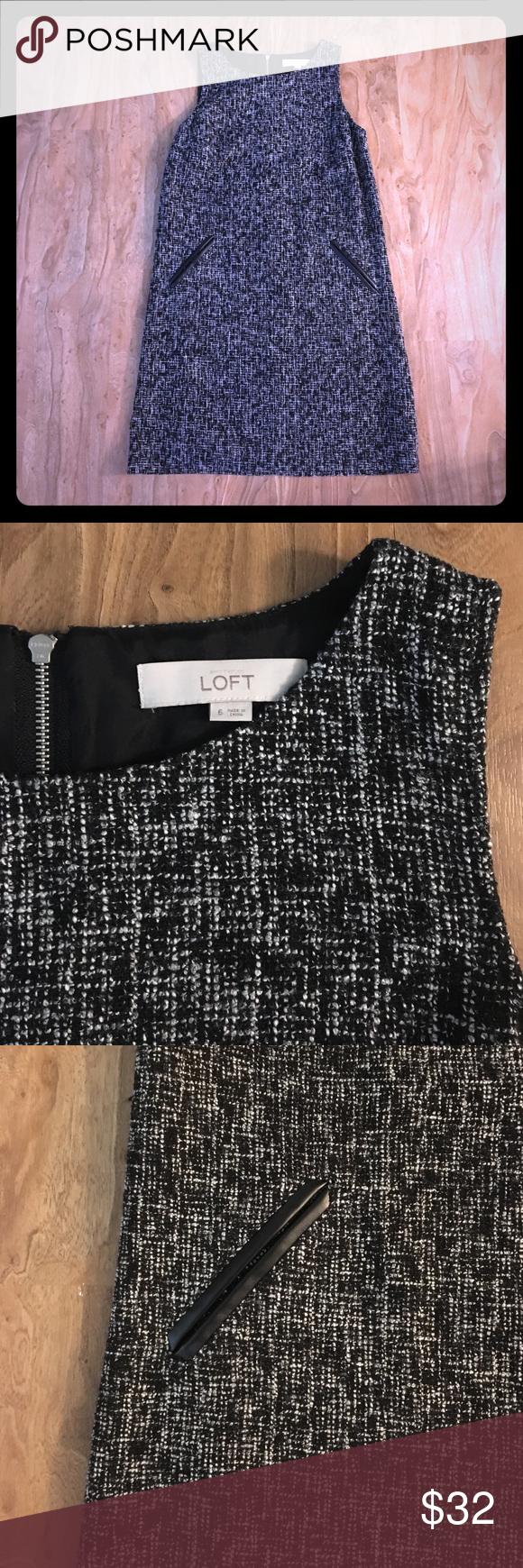 Black and white tweed dress from Loft LOFT black and white tweed dress with leather pocket embellishments. (Not real pockets). LOFT Dresses Midi