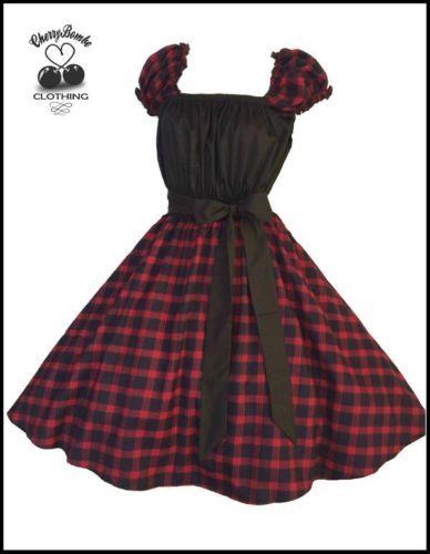 852b21d2dbe Vintage-1950s-Tartan-Swing-Dress-PLUS-SIZE-20-22-24-Rockabilly-PinUp-Wedding