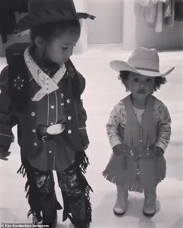 Kim Kardashian Helps North And Chicago On A Horseback Ride In Wyoming Kim And Kanye Kids Kim Kardashian Kanye West Cowboy Outfits