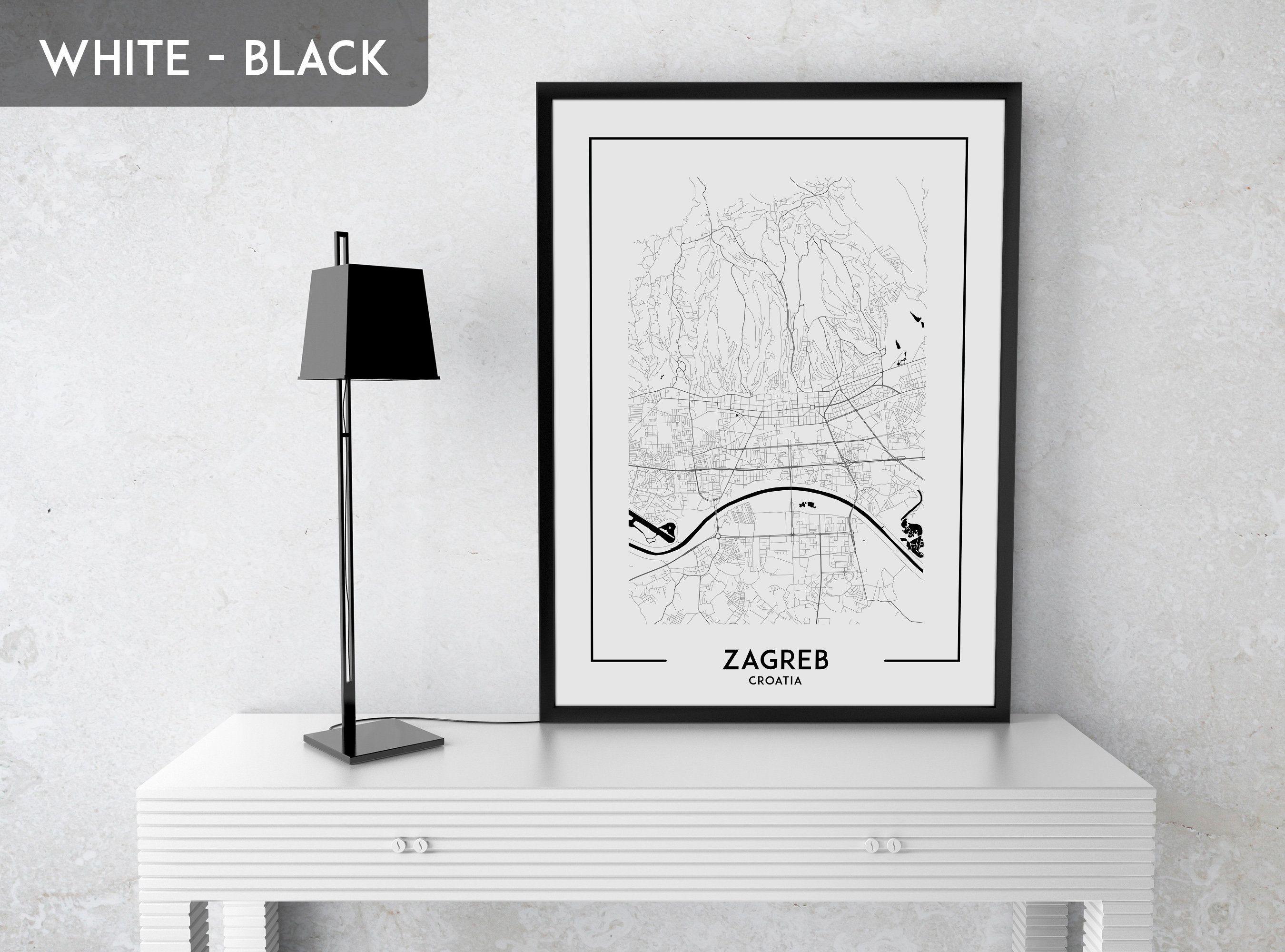 ZAGREB Croatia Map Poster Black White Wall Decor Design Modern Motto Swiss  Scandinavian Minimal Nordic Housewarming