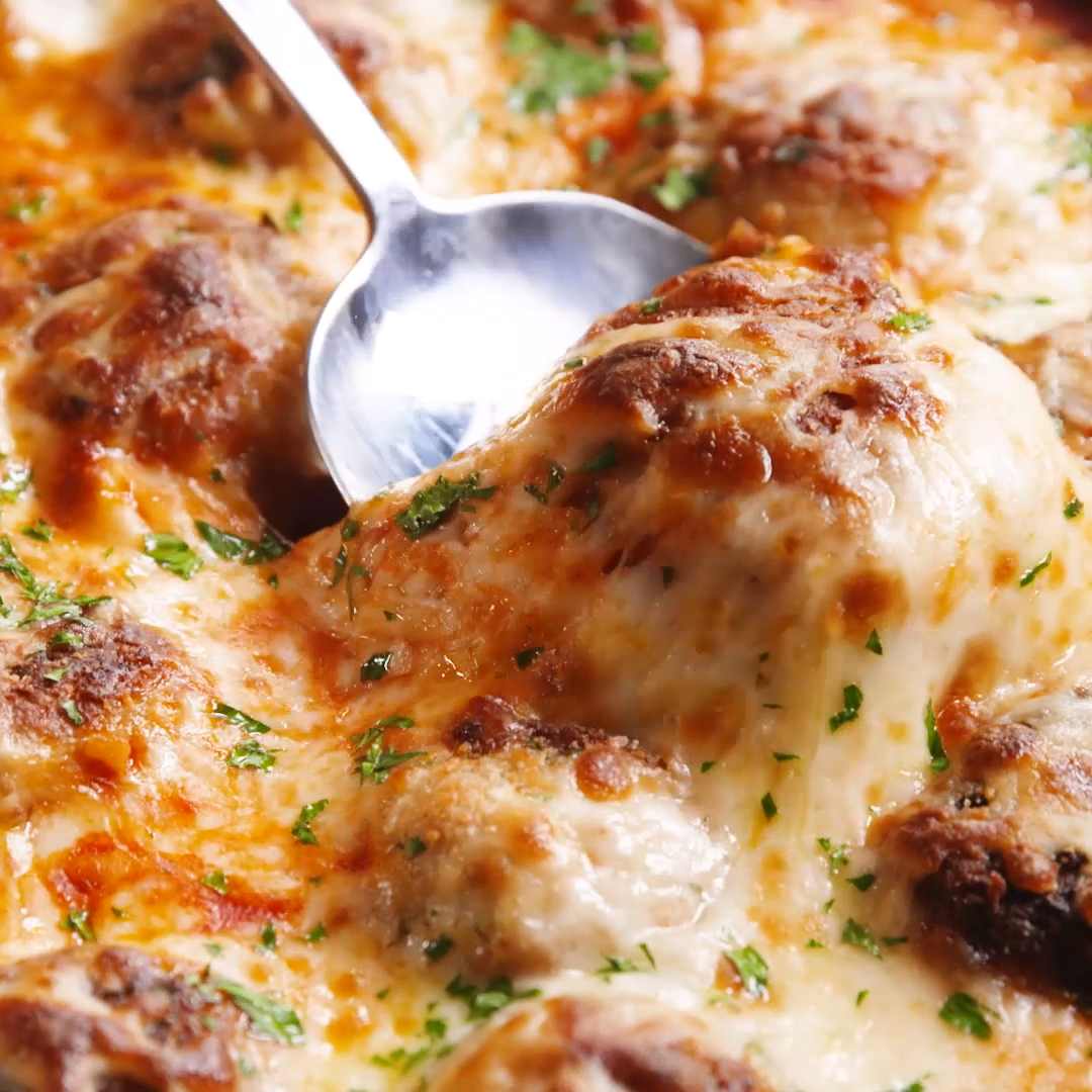 Chicken Parm Meatballs In A Skillet images