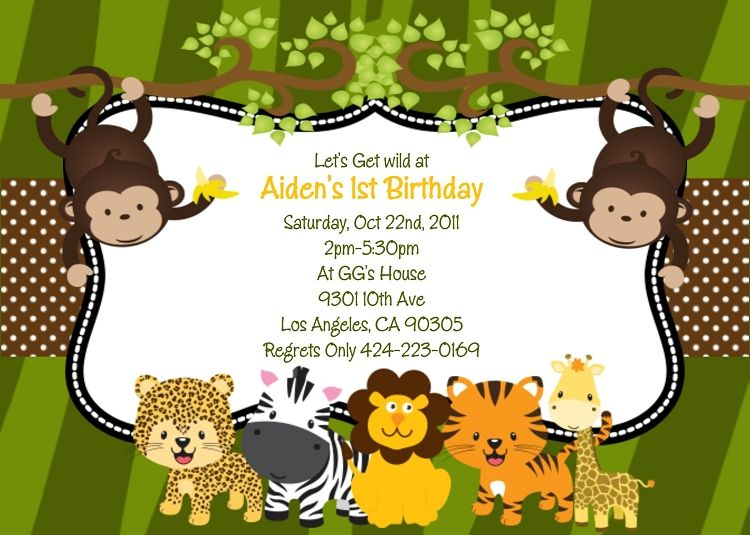 Free Printable Safari Baby Shower Invitations Çizim-Hayvanlar - first birthday invitation templates free
