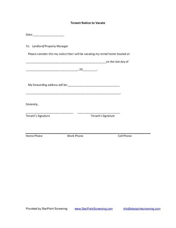 60 Day Notice To Terminate Tenancy Letter template Real estate